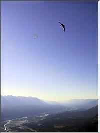 A Paraglider and Hang Glider climb out in evening lift