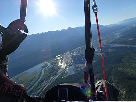 Paragliding towards the Town of Golden BC