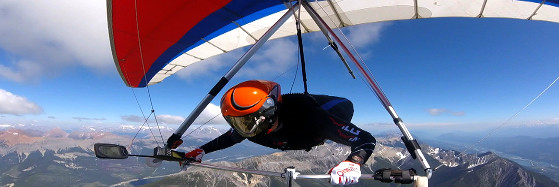 Hang Gliding downrange from Mt 7 Golden BC